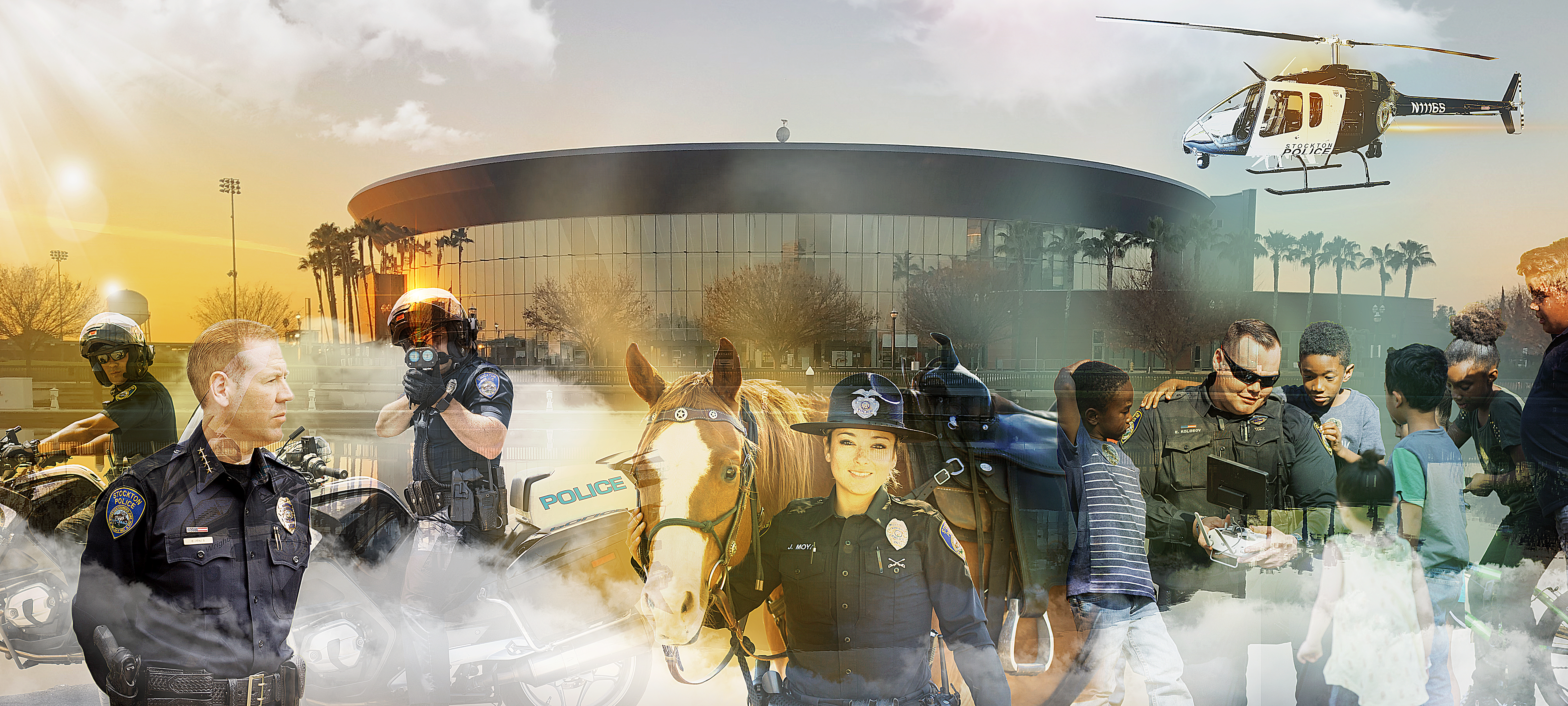 Stockton Police Chief Eric Jones poses with police personnel in front of the Stockton Arena
